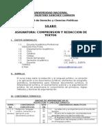 Silabo Comprension y Redaccion de Texos - Derecho
