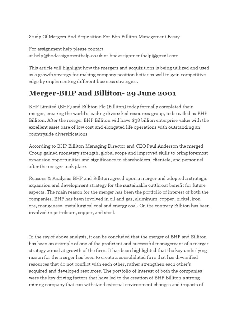 pestel analysis of bhp billiton