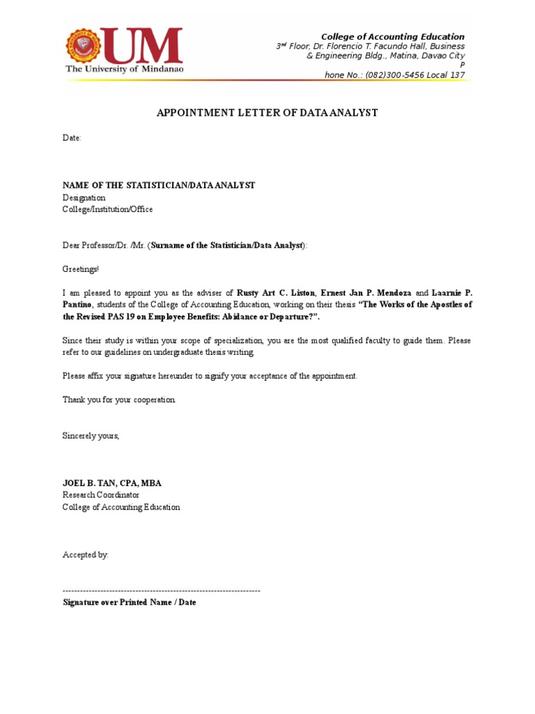 Appointment Letter To Statistician
