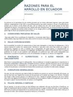 15 Razones Para El Subdesarrollo en Ecuador