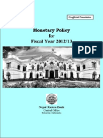 Monetary Policy of Nepal (ENGLISH)--2012-13 Report