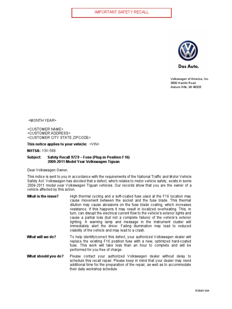 VW Tiguan Recall Due to F16 Fuse Issue | Volkswagen | Fuse (Electrical)Scribd