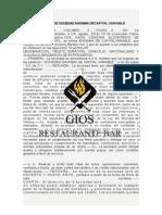 Acta Constitutiva de Sociedad Anonima Decapital Variable Gios