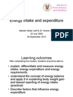 Energy Intake and Expenditure