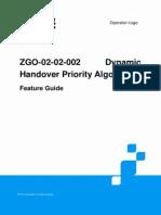 ZGO-02!02!002 Dynamic Handover Priority Algorithm Feature Guide ZXG10 IBSC (V12.3.0)20131108
