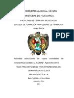 """Actividad antioxidante de cuatro variedades de Amaranthus caudatus L.""""Kiwicha"""""""