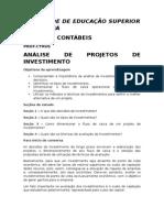 Análise de Projetos de Investimento 2012