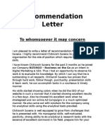 Recomendation Letter Format