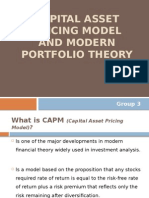 Capital Asset Pricing Model and Modern Portfolio Theory