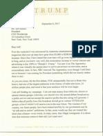 Donald Trump Letter to CNN President Jeff Zuckers