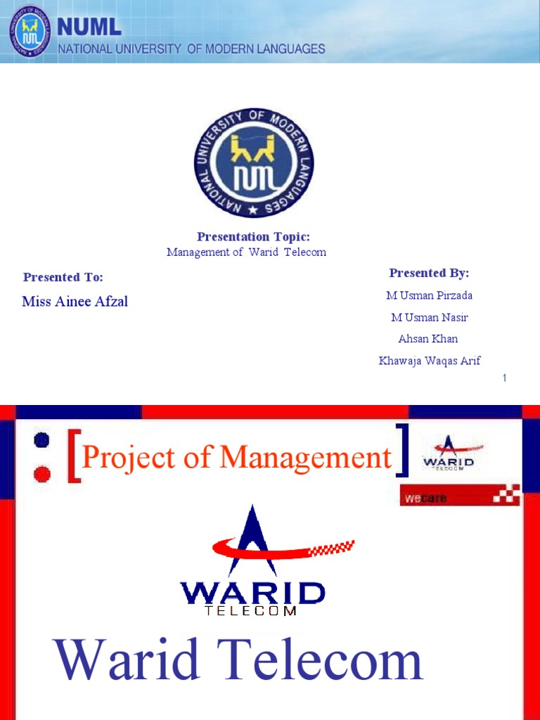 project on warid telecom The parent companies of mobilink and warid telecom announced on thursday  that they had reached a merger agreement at a price tag of $500 million,.