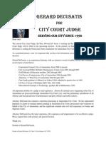 Letter to Primary Voters August 28-- Gerard DeCusatis City Court Judge