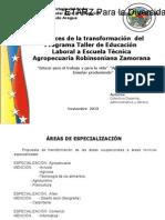 Propuesta de Transformaciòn ETARZ Noviembre 2013