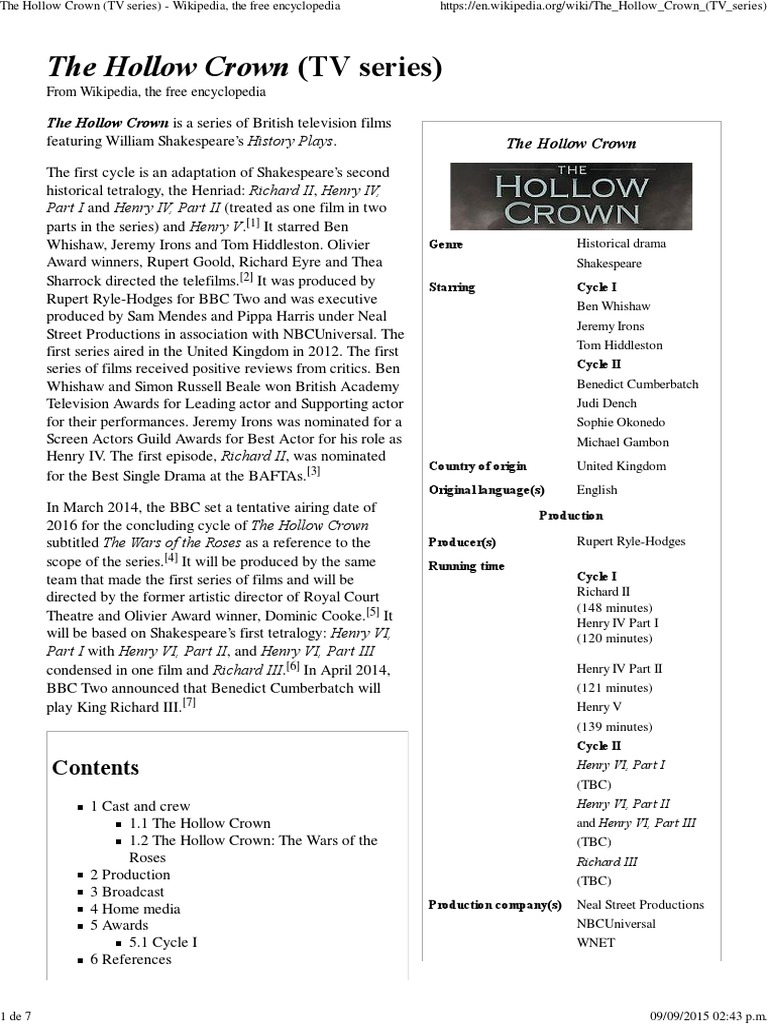 The Hollow Crown Tv Series Pdf Entertainment General Leisure
