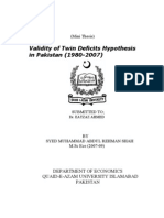 Validity of Twin Deficits Hypothesis in Pakistan (1980-2007)