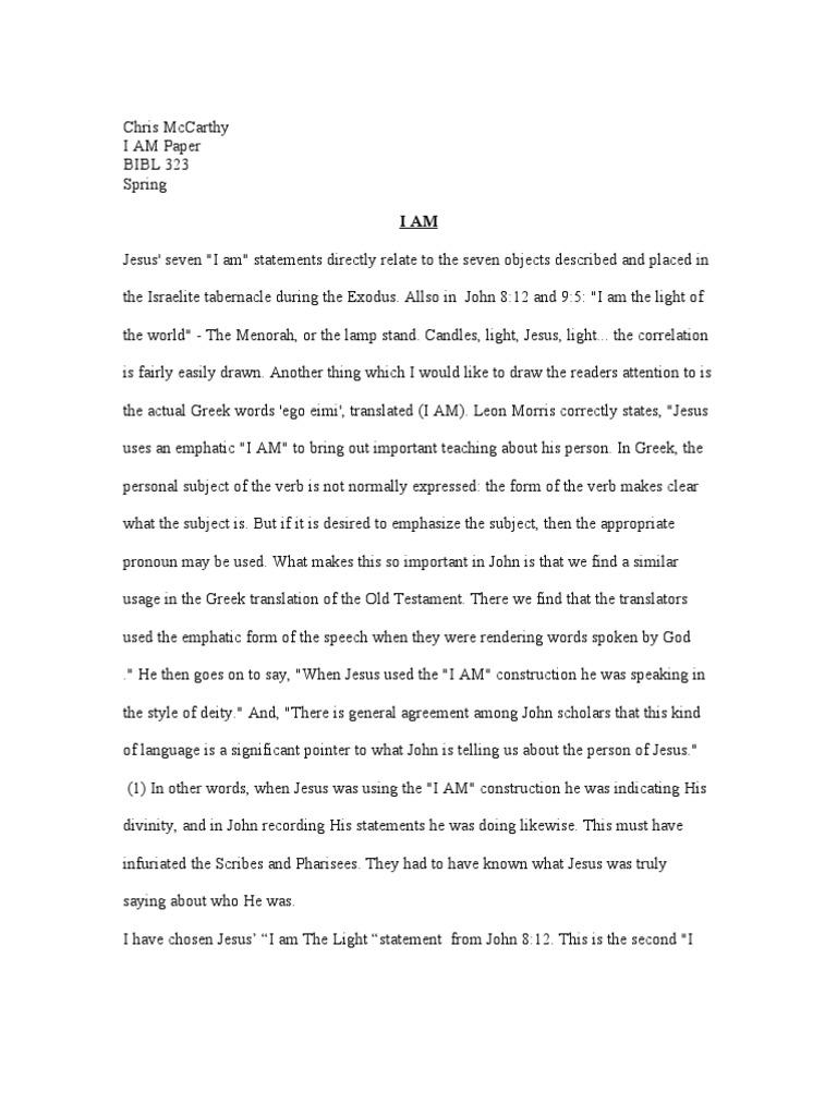 i am essays examples