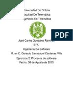 Ejercicios 2. Procesos de Software