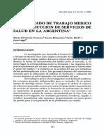 Mercado de Trabajo Medico en Argentina