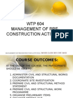 Wtp604management of Preconstruction Activities
