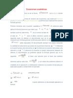 Ecuaciones cuadráticas(Matematica)