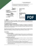 Silabus de Liderazgo y Direccion Personal Minas