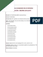 Diploma Avanzado en Ayurveda 2014-2015