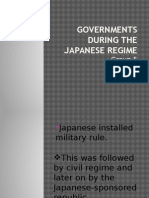 Governments During the Japanese Regime