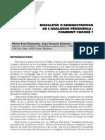 Modalités d'administration de l'analgésie péridurale_ comment choisir_