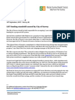 10 Sept 15 - LRT Funding Standstill Caused by City of Surrey