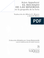 APPADURAI, Arjun - El Rechazo de Las Minorias Ensayo Sobre La Geografía de La Furia (2006)