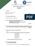 Mate.info.Ro.3470 Examen de Selectie Pentru Clasa a v-A - MATEMATICA 2015