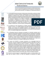 Pronunciamiento del Nucleo de Decanos de la #UCV  07-09-2015