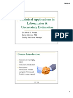 Statistical Applications in Laboratories & Uncertainty Estimation