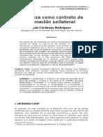 3.- La Fianza Como Contrato de Formación Unilateral