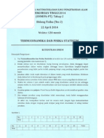 Soal Fisika Termodinamika Dan Fisika Statik, On-MIPA 2014