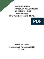 Percobaan Kalorimetri dan Hukum Hess