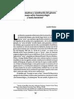 BUTLER, Judith, Actos Performativos y Constitucion Del Genero