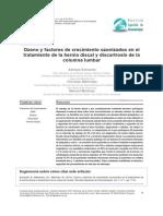 Ozono y Factores de Crecimiento Ozonizados en El Tratamiento de La Hernia Discal y Discartrosis de La Columna Lumbar