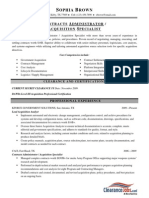 Contracts Administrator Acquisition Specialist Resume Sample