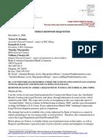 08-12-11 Samaan v Zernik (SC087400) Dr Zernik's Notice to Bank of America officers in re Dec 11 2008 resumption of false Bryan Cave LLP appearances at LA Sup Crt s
