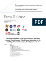 PRESS RELEASE Law Enforcement and Public Safety Agencies Announce Security Restrictions and Joint Transportation Plan for the 2015 Papal Visit to Washington DC September 2224