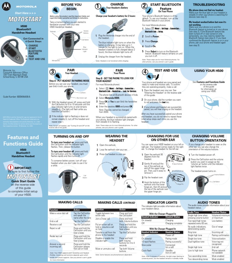 motorola h500 bluetooth earpiece manual telephone bluetooth rh pt scribd com Motorola H500 Bluetooth Wall Charger Motorola H500 Bluetooth Pairing