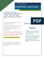 Lacrosse Flier Foothills Dist. , 2015 1pg