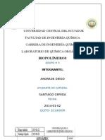Informe de Organica 3 Biopolimeros Practica N° 10