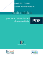 Plan de Estudio - Profesorado Matemática