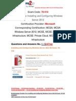 [100% PASS] Braindump2go 70-410 Lab Manual PDF Free 1-10