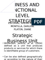 Business and Functional Level Strategies