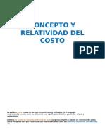 Concepto y Relatividad Del Costo