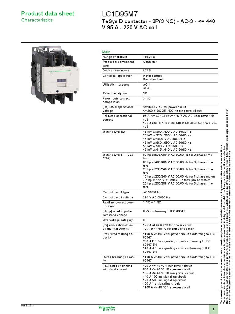 Schneider Electric LC1D95M7 Datasheet   Cable   Electrical ... on