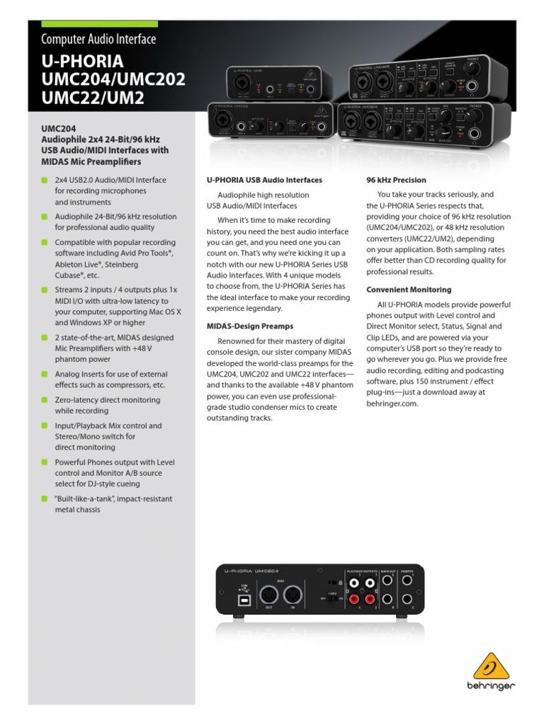 Cooperative Behringer Umc22 Computer Audio Interface Audio/midi Interfaces